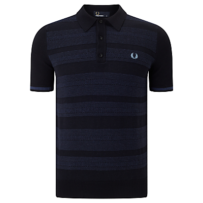 Fred Perry Textured Polo Shirt Navy