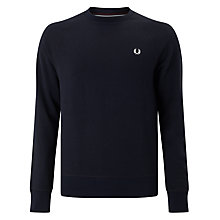 Buy Fred Perry Loopback Crew Neck Sweater, Navy Online at johnlewis.com