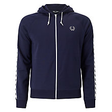 Buy Fred Perry Taped Hooded Track Jacket, Carbon Blue Online at johnlewis.com