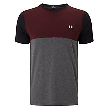 Buy Fred Perry Marl Colourblock T-Shirt, Mahogany Online at johnlewis.com