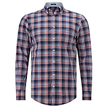 Buy Gant Dobby Plaid Regular Fit Shirt, Yale Blue Online at johnlewis.com