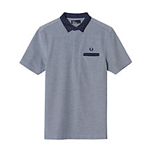 Buy Fred Perry Oxford Trim Collar Pique Polo Shirt, Dark Carbon Oxford Online at johnlewis.com