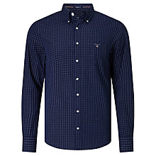 Buy Gant Indigo Broadcloth Tattersall Shirt, Dark Indigo Online at johnlewis.com