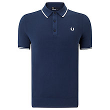 Buy Fred Perry Knitted Polo Shirt, Service Blue Online at johnlewis.com