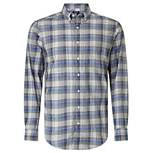 Buy Gant Heather Broadcloth Regular Fit Plaid Shirt, Nautical Blue Online at johnlewis.com