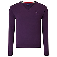 Buy Gant Wool V-Neck Jumper, Dark Purple Melange Online at johnlewis.com