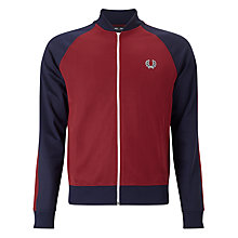 Buy Fred Perry Bomber Track Jacket, Maroon Online at johnlewis.com