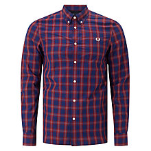 Buy Fred Perry Tartan Gingham Long Sleeve Shirt, Navy Online at johnlewis.com