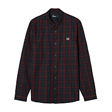 Buy Fred Perry Winter Tartan Shirt, Mahogany Online at johnlewis.com