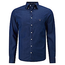 Buy Gant Indigo Chambray Button Down Shirt, Dark Indigo Online at johnlewis.com