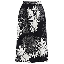 Buy Warehouse Leaf Print Midi Skirt, Black Online at johnlewis.com