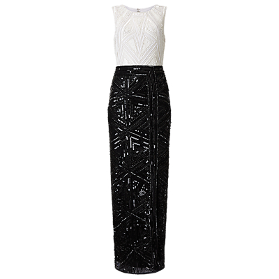 Phase Eight Collection 8 Grace Embellished Dress, Black/White