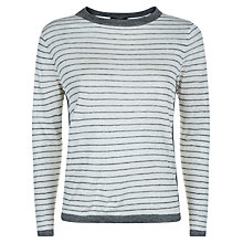 Buy Jaeger Linen Jumper, Ivory/Grey Online at johnlewis.com