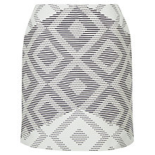 Buy Jaeger Diamond Jacquard Skirt, Ivory/Navy Online at johnlewis.com