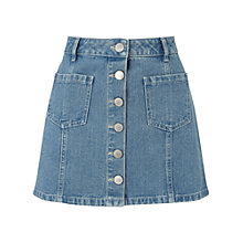 Buy Miss Selfridge Petite Denim A Line Skirt, Mid Blue Online at johnlewis.com