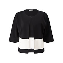Buy Jacques Vert Block Stripe Cropped Jacket, Black/White Online at johnlewis.com