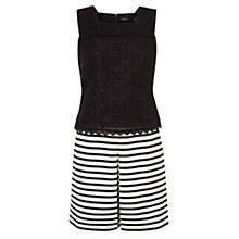 Buy Karen Millen Stripe and Broderie Dress, Black/White Online at johnlewis.com