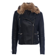 Buy French Connection Blackbird Biker Jacket, Black Online at johnlewis.com