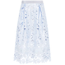 Buy Ted Baker Dynar Floral Lace Applique Midi Skirt, Blue Online at johnlewis.com