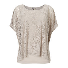 Buy Phase Eight Fatima Floral Burnout Top, Mushroom Online at johnlewis.com