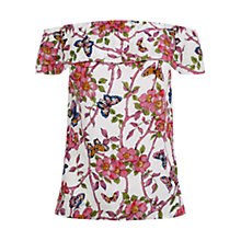 Buy Oasis Climbing Butterfly Bardot Top, Multi/Natural Online at johnlewis.com