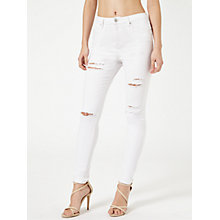 Buy Miss Selfridge Lizzie Rip Jeans, White Online at johnlewis.com