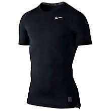 Buy Nike Pro Cool Compression Top, Black/Dark Grey Online at johnlewis.com