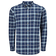 Buy John Lewis Brushed Check Regular Fit Shirt, Navy Online at johnlewis.com