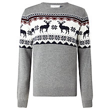 Buy John Lewis Reindeer Christmas Jumper, Charcoal Online at johnlewis.com