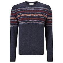 Buy John Lewis Lambswool Fair Isle Crew Neck Jumper, Navy Online at johnlewis.com