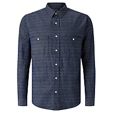 Buy JOHN LEWIS & Co. Cotton Linen Stripe Barre Shirt, Navy Online at johnlewis.com