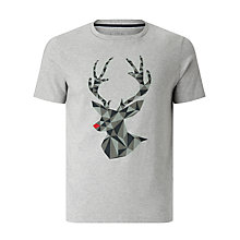 Buy John Lewis Organic Cotton Geo Christmas Stag T-Shirt, Grey Marl Online at johnlewis.com