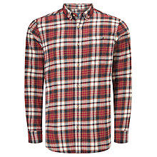 Buy John Lewis Brushed Check Regular Fit Shirt, Red Online at johnlewis.com