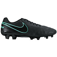 Buy Nike Tiempo Genio Leather II FG Men's Football Boots, Black Online at johnlewis.com