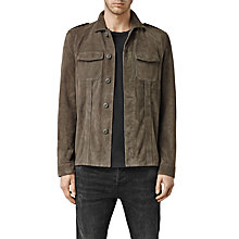 Buy AllSaints Adisham Goat Leather Outer Shirt, Khaki Green Online at johnlewis.com
