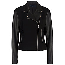 Buy French Connection Alana Mix Biker Jacket, Black Online at johnlewis.com