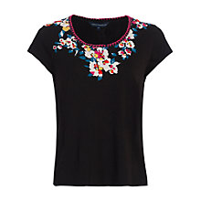 Buy French Connection River Daisy T-shirt, Black Online at johnlewis.com