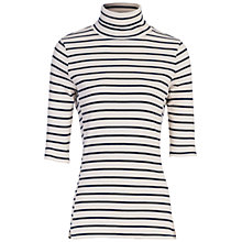 Buy French Connection Duty Stripe Short Sleeve Polo Neck Top, Classic Cream/Nocturnal Online at johnlewis.com