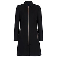 Buy French Connection Platform Felt Long Sleeve Zip Through Coat, Black Online at johnlewis.com
