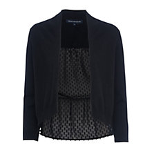 Buy French Connection Bow Fringe Long Sleeved Cropped Cardigan, Black Online at johnlewis.com