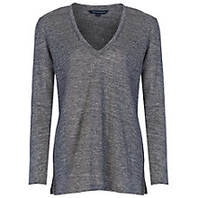Buy French Connection Laurel V Neck Linen T-shirt, Dark Grey Online at johnlewis.com