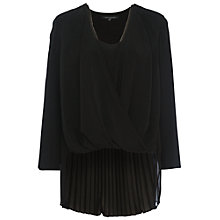 Buy French Connection Polly Plains Long Sleeved V-Neck Top, Black Online at johnlewis.com