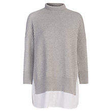 Buy French Connection Mozart Mix Long Sleeve High Neck Jumper, Light Grey Mel/Winter White Online at johnlewis.com