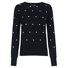 Buy French Connection Polka Dot Long Sleeve Jumper, Black/Winter White Online at johnlewis.com
