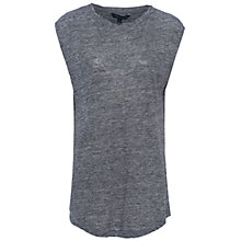 Buy French Connection Marley Lace Round Neck Top, Dark Grey Mel/Black Online at johnlewis.com