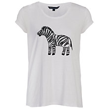 Buy French Connection Zebbie Embellished T-Shirt, Winter White Online at johnlewis.com