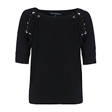 Buy French Connection Eyelet Knits Round Neck Jumper, Black Online at johnlewis.com