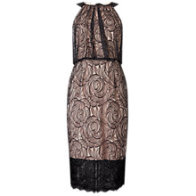 Buy Adrianna Papell Halter Lace Illusion Dress, Black/Blush Online at johnlewis.com