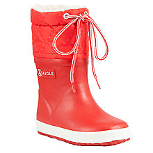 Buy Aigle Children's Giboulee Wellington Boots, Rouge Online at johnlewis.com