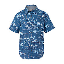 Buy Fat Face Boys' Short Sleeve Van Print Shirt, Blue Online at johnlewis.com